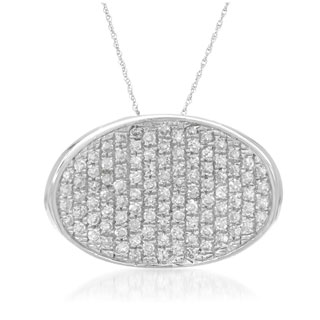 14k White Gold 1/5ct TDW Pave Diamond Pendant