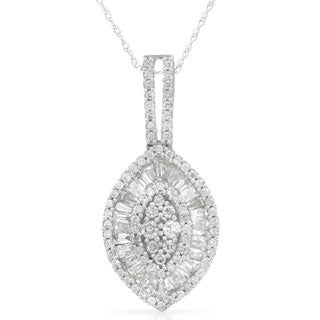 14k White Gold 1ct TDW Marquise Diamond Necklace (HI, SI1-SI2)