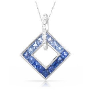 14k White Gold Sapphire Diamond Accent Pendant Necklace