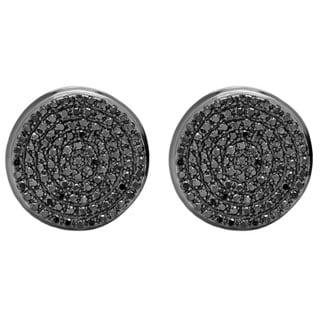 Sterling Silver 2/5ct TDW Black Diamond Men's Stud Earrings