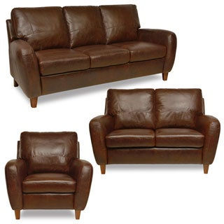 Tan 3-piece Living Room Leather Sofa Set
