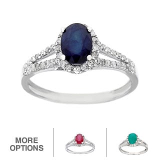 Viducci 10k White Gold 1/2ct TDW Diamond and Genuine Multi-gemstone Ring (G-H, I1-I2)