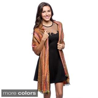 Selection Privee Paris Women's Wool and Silk Paisley Reversible Wrap