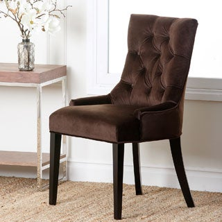 Abbyson Living 'Napa' Dark Brown Microsuede Tufted Dining Chair