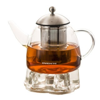 Ovente 44-ounce Glass Tea Pot with Warmer