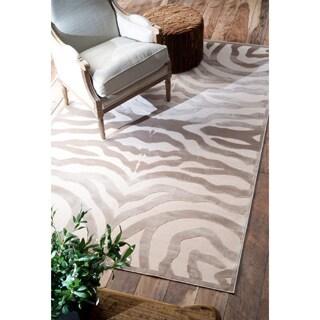 nuLOOM Modern Zebra Faux Silk Brown Rug (9' x 12'7)