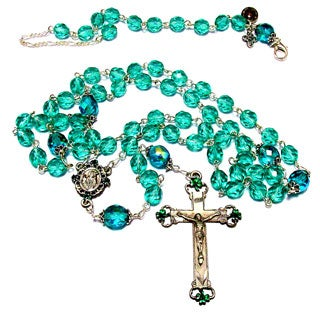 Turquoise Green Crystal Rosary and Bracelet Set