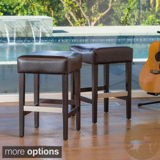 Christopher Knight Home Brinkley Backless Leather Counter Stool (Set of 2)