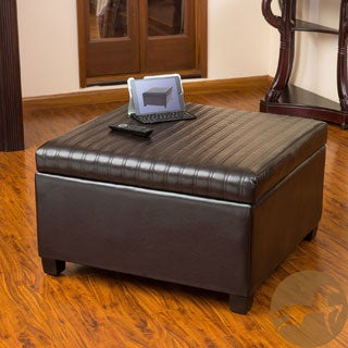 Christopher Knight Home Cano Espresso Leather Storage Ottoman