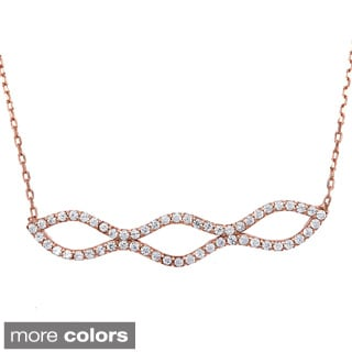 La Preciosa Sterling Silver Cubic Zirconia Design Necklace