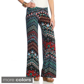 White Mark Women's Printed Palazzo Pants