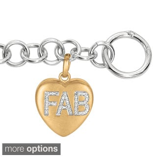 Sweethearts Diamond Accent 'FAB' Sentiment Heart Bracelet (H-I, SI1-SI2)