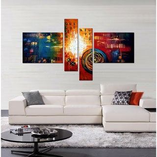 Hand-painted 'Abstract 482' 4-piece Art Set