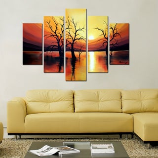 Hand-painted 'Sunset and Trees' 5-piece Canvas Art Set