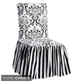 Black/White Damask and Stripe Dining Chair Cover (Set of 2)