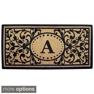 Handmade Monogrammed Heritage Black Coir Door Mat (3' x 6')