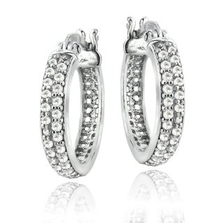 Sterling Silver 1/2ct TDW Diamond Hoop Earrings (H-I, I2)