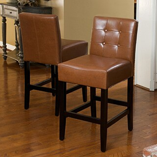 Christopher Knight Home Tate Tufted Leather Counter Stools (Set of 2)