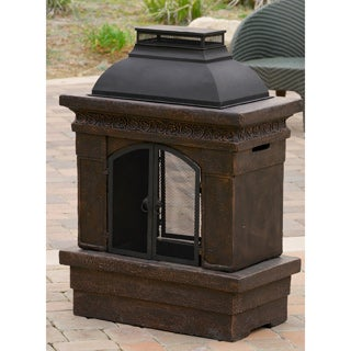 Christopher Knight Home Luvan Outdoor Copper Stone Chiminea Fireplace