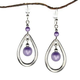 Jewelry by Dawn Rhodim-plated Open Teardrop Double Purple Bead Drop Earrings