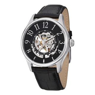 Stuhrling Original Men's Solaris Automatic Skeleton Leather Strap Watch Set