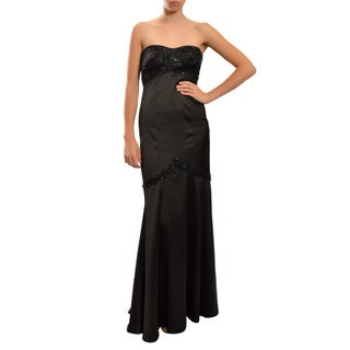 Tadashi Shoji Women's Black Beaded Bolero and Long Evening Gown