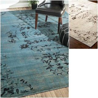 nuLOOM Oriental Vintage Viscose Ashton Ivory Rug (5' x 8')