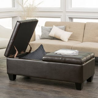 Christopher Knight Home Merrill Double Opening Chocolate Brown Leather Storage Ottoman