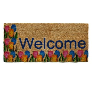 Tulips 'Welcome' Coir with Vinyl Backing Doormat (1'6 x 3'4)