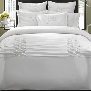 City Scene Triple Diamond 3-piece White Duvet Cover Set