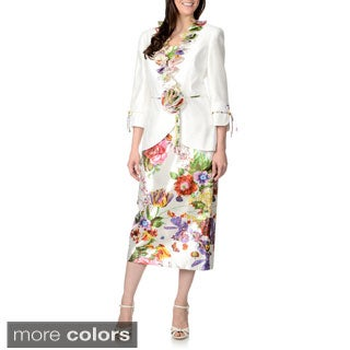 Giovanna Signature Women's 2-piece Ruffle Floral Skirt Suit