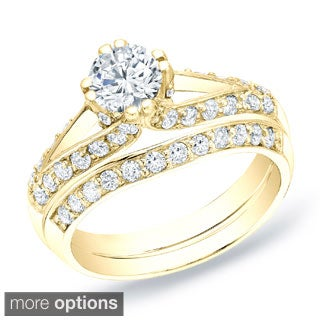 Auriya 14k Gold 1 1/4 ct TDW Round Diamond Bridal Ring Set (H-I, SI1-SI2)