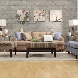 INSPIRE Q Elston Tan Linen Tufted Sloped Track Sofa