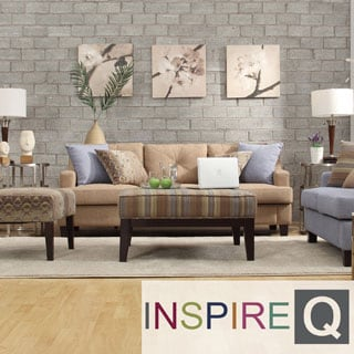 Inspire Q Cameron Light Brown Tufted Sloped Arm Sofa