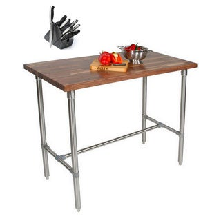 John Boos WAL-CUCKNB424-40 Walnut Cucina Americana Classico 48 x 24 x 40 Table and Henckels 13-piece Knife Block Set