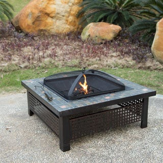 Corvus Templato 34-inch Fire Pit with Slate Tabletop