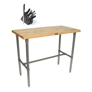 John Boos CUCNB08-40 Cucina Americana Classico 48 x 30 Table and Henckels 13-piece Knife Block Set