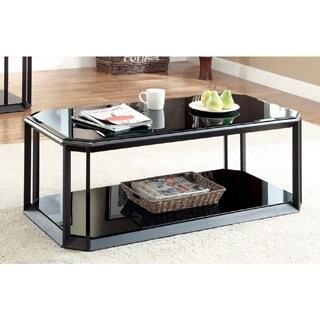 Furniture of America Mortecia Black Glass and Metal Coffee Table