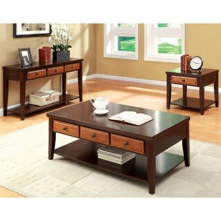 Furniture of America 'Berthal' Two-tone 3-piece Occasional Table Set