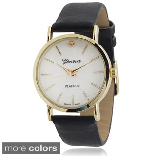 Geneva Platinum Rhinestone Accent Faux Leather Strap Watch