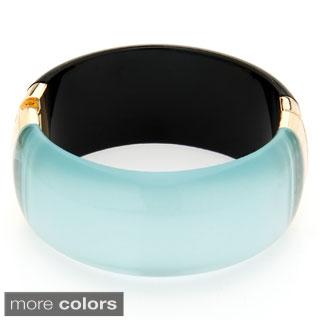 Alexa Starr Reflective Transparent Engraved Lucite Bangle Bracelet