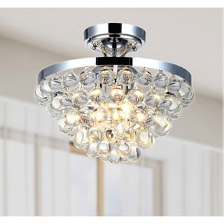 Vanessa Chrome Flush Mount Chandelier with Crystal Balls