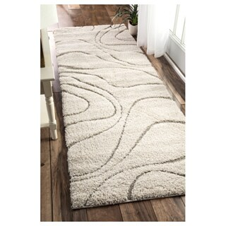 nuLOOM Soft and Plush Curves Ivory/ Beige Shag Runner Rug (2'8 x 8')