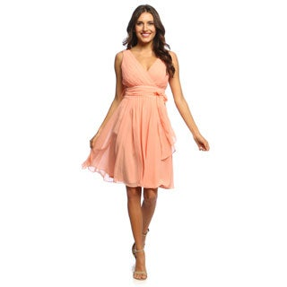S.L. Fashions Women's Peachy Corss-over V-neck Dress