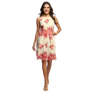 S.L. Fashions Women's Printed Floral Belted Dress