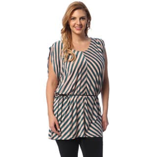 Women's Pink Diagonal Striped Tunic
