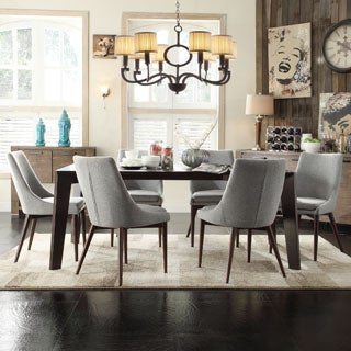 INSPIRE Q Sasha Curved Grey Linen Upholstered 7-piece Angled-leg Dining Set