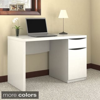 Montrese Closed Storage in Pure White Finish Computer Desk