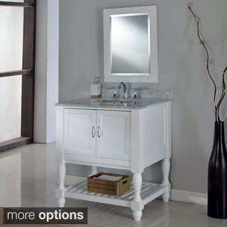 32-inch Pearl White Mission Turnleg Spa Single Vanity Sink Cabinet