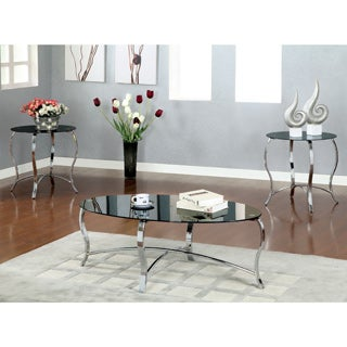 Furniture of America Pyri Contemporary 3-piece Black Tempered Glass Accent Table Set